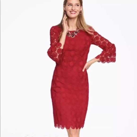 Talbots Dresses & Skirts - RSVP by Talbots Embellished Red Lace Dress